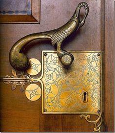 Loving this inspiring Art Deco door knob and lock set!  How unique!  door knobs.  unique doors. door decor. front doors.