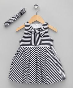 Take a look at this Navy Stripe Dress & Headband - Infant, Toddler & Girls by Lolipop Bebe on today! Nautical Outfits, Girly Outfits, Kids Outfits, Baby Girl Dresses, Little Dresses, Baby Dress, Dress Anak, Moda Kids, Stylish Baby