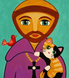 Saint FRANCIS of Assisi and CATS Art PRINT from by thatsmycat