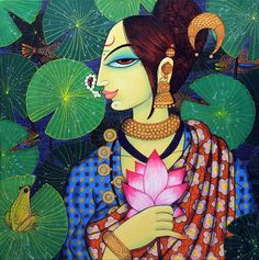 Artist Varsha Kharatamal's Beauty And Lotus 2 Painting Online. Red-Violet acrylic Painting by Varsha Kharatamal on Canvas, Figurative based on theme Beautiful Life. Lotus Painting, Mural Painting, Fabric Painting, Figure Painting, Interior Painting, Dress Painting, Painting Tips, Painting Techniques, Madhubani Art