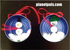 Tuna Can Ornaments RECYCLE CRAFT for Christmas or Winter! Make micro winter/Christmas scenes in a shallow can. Preschool Christmas Crafts, Preschool Crafts, Holiday Crafts, Holiday Fun, Winter Fun, Winter Christmas, Christmas Ornaments, Christmas Scenes, Snowman Ornaments