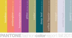 "The Pantone color report for fall 2011 looks delightful, doesn't it? These are the top 10 colors for women's fashion which we will no doubt see trickling in to the interior design world. ""Designers take a painterly approach to fall 2011 by artfully combining bright colors with staple neutrals, reminiscent of how an artist would construct a stunning work of art,"""