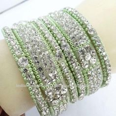 Hint of lime green and diamonds Bollywood Jewelry, Bollywood Fashion, Bollywood Style, Indian Bangles, Indian Jewelry, Red Energy, Bridal Bangles, Anklets, Bangle Bracelets