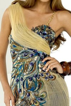 Alternate view of the Beaded Peacock Feather Homecoming Gown Pearl by Blush P044 image