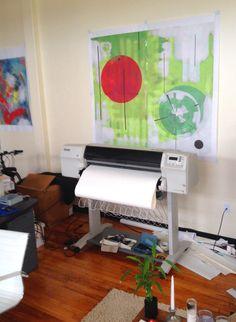 HP large format inkjet printer - Studio space - Artists proof: Kent Wilcoxson Jordan. Providence North Gallery / Atelier, Providence, Rhode Island