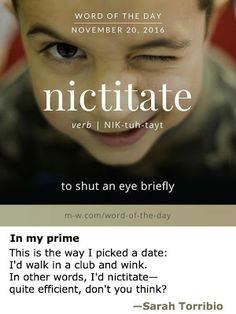 Nictitate - I call that a wink. Unusual Words, Weird Words, Rare Words, Big Words, Words To Use, Unique Words, Powerful Words, Cool Words, English Vocabulary Words