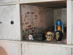 Inside one of the crypts in Sleepy Hollow Cemetery