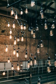 Talking about wedding trends in industrial style is everywhere now and we'll see it more next year. Getting married in industrial venues is contrasting,. Industrial Wedding Decor, Rustic Wedding Decorations, Warehouse Wedding Decor, Decor Wedding, Reception Decorations, Industrial Light Fixtures, Industrial Lighting, Estilo Industrial Chic, Modern Romance