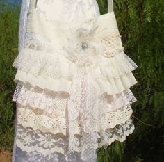 Ruffled Shabby Chic Purse  Romantic Lace Bag  by Pursuation, $52.00