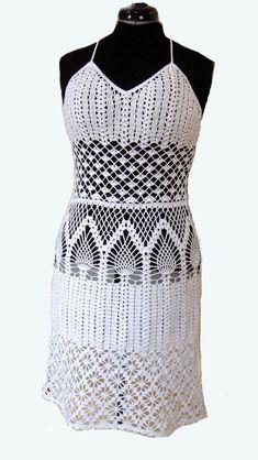 Crocheted dress tunic made to order crochet handmade by dosiak, $150.00