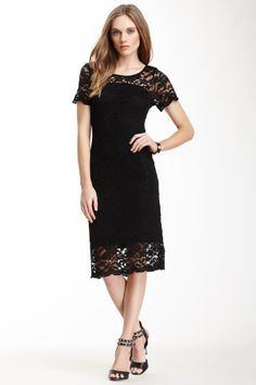 Short Sleeve Scallop Lace Sheath Dress