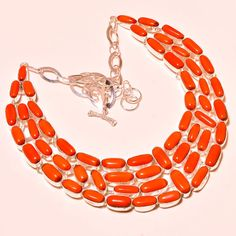 Red Italian Coral Antique Look!! Handmade Jewelry Necklace 18'' #Handmade