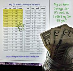 Week #11 add Eleven Dollars. If your following along you should have 66 dollars saved up to date or more depending how you are saving. What is your saving to date for this 52 week savings challenge. 52 Week Savings Challenge, Challenge Me, Savings Jar, Baby On A Budget, Frugal Living, Saving Money, Budgeting, Spaces, Learning