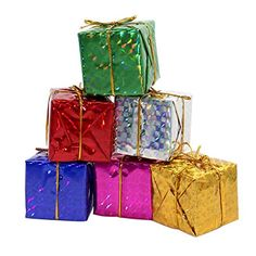Gift Boxes Assorted Colors Miniature 2 Inches Fonxian 24pcs Foil Christmas Decoration Ornaments >>> See this great product. (This is an affiliate link)