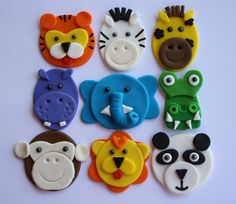 Jungle Animal Cupcake Toppers One Dozen by Clementinescupcakes, $19.95