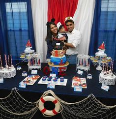 Nautical  theme party for baby's first birthday with sailor Mickey Mouse