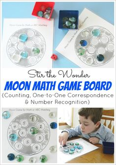 Moon Math Game Board, to practice counting, one-to-one correspondence and number recogniton with toddlers and preschoolers | Stir the Wonder