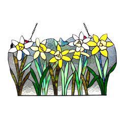 Daisy Tiffany Glass Flowers Window Panel