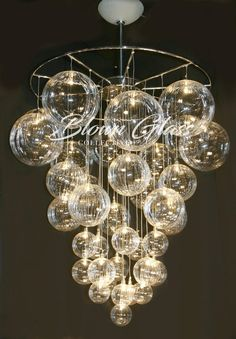 Celestial Molecules Hand Blown Glass Chandelier by Blown Glass Collective