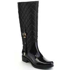Discover the undeniable quality and style of these women's quilted two tone buckle knee high rain boots.These rain boots with lug sole,stiching details,wide calf will be a better choice for rainy days.