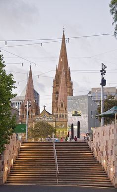 View of Federation Square, and St Paul's Cathedral, Melbourne Australia