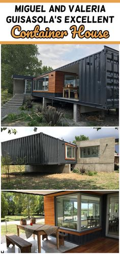 They bought four containers, and with the professional direction of Nicolás Brüel, Miguel and Valeria Guisasola fulfilled their dream. Building A Container Home, Container Buildings, Container Architecture, Container House Design, Small House Layout, House Layout Plans, House Layouts, House Plans, Shipping Container Cabin