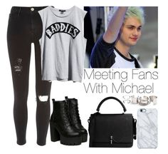 """""""Meeting fans with Michael"""" by lovatic92 ❤ liked on Polyvore featuring River Island, Mikey, Ksubi, Carven, Uncommon and Free People"""