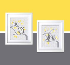 FancyPrintsforHome › JUST FOR KIDS  2 PC Baby Nursery Prints for modern rooms with Whimsical Owl and Tweet, 2 Tweets on damask, Gray yellow, boy girl unisex, 8x10