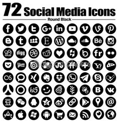 72 new Round social media icons - Vector, Black and white, transparent background - the must have complete circle icon set — Stock Vector © dadartdesign #90709668