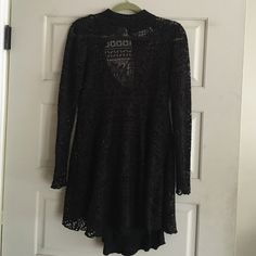 Long sleeve Lace free people dress Lace dress w blk slip under . Long sleeve , mini dress , never worn . Free People Dresses Mini
