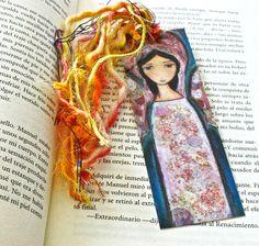 Angel en Rosa   Laminated Bookmark  Handmade  by FlorLarios, $8.00