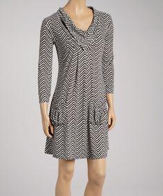 Look at this #zulilyfind! Black & White Zigzag Split-Neck Dress by Reborn Collection #zulilyfinds