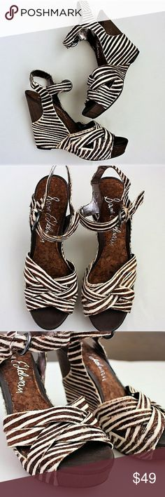 Sam Edelman Zebra Print Wedge Sandals Genuine calf hair fur construction. Ankle adjustable buckle strap closure.Wedge and soles in excellent condition. Slight wear on inside of strap as seen in second to last pic. 6M. Sam Edelman Shoes Wedges