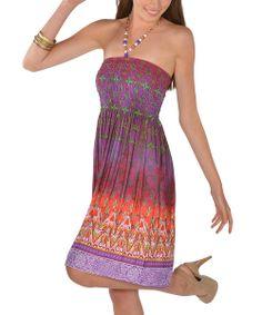 Purple Beaded Batik Halter Dress, colors of orchid and orange