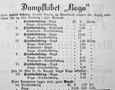Dampskibet BOGØS fartplan. Stubbekøbing Avis, 17. oktober 1902. Stationerne er Stubbekøbing, Bogø og Grønsund, hvorved man må antage, at der er underforstået Grønsund Færgegård på Møn og ikke Borre på Falstersiden. Man noterer sig den sidste bemærkning i annoncen om, at der går båd, når færgen ligger over. Det må betyde sejlbåd eller robåd. Fra Mia Gerdrups udklipssamling.
