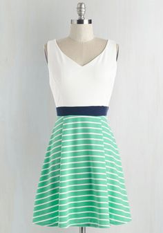 YELLOW STAR Started from the Bobbin Dress in Seaglass #mint #green #blue #white #dress #fashion
