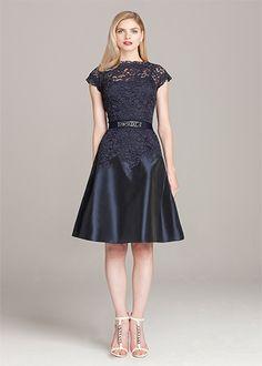 Navy Lace and Taffeta A-Line Dress | Teri Jon