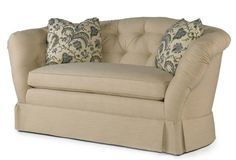 This loveseat would look great at the foot of a bed or as the seating vignette in a bedroom. Bedroom Seating, Foot Of Bed, New Living Room, Love Seat, Master Bedroom, Armchair, New Homes, Couch, Neutral