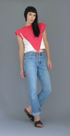 VTG Bright Pink and Cream Hand Knit Crop Top by reapervintage