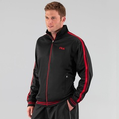 Pitcher Track Jacket by Fila has a contrast color front zipper with side zippered pockets, ribed collar, and bottom and cuffs for security and style. Tennis Gear, Motorcycle Jacket, Jackets, Style, Fashion, Tricot, Down Jackets, Swag, Moda
