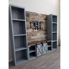 We are proud to now offer our popular handmade Farmhouse entertainment center units to customers outside of Texas! Living Room Entertainment Center, Custom Entertainment Center, Diy Furniture Entertainment Center, Entertainment Center Wall Unit, Muebles Living, Basement Remodeling, Home Living Room, Home Projects, New Homes