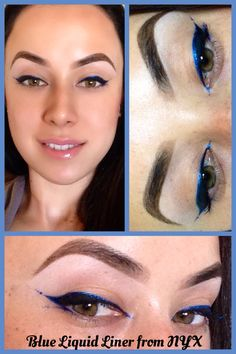 Blue Eyeliner outlining Black Eyeliner