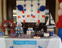Hunie Do Events's Birthday / Nautical - Nautical Mickey Mouse Party at Catch My Party 1st Birthday Themes, Mickey Birthday, 1st Boy Birthday, First Birthday Parties, First Birthdays, Birthday Ideas, Mickey Baby Showers, Baby Mickey, Mickey Mouse