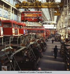 Routemasters undergoing overhaul at Aldenham Works, 1978