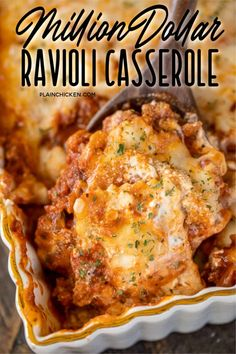 Million Dollar Ravioli Casserole - seriously delicious! Meat sauce, frozen ravioli, and 4 cheeses! The BEST pasta casserole EVER!!! Can make ahead and refrigerate or freeze for later. Frozen cheese ravioli, cream cheese, sour cream, cottage cheese, Italian sausage, spaghetti sauce, parmesan cheese and mozzarella cheese. Serve with a simple salad and garlic bread. Great for dinner parties and potlucks! Everyone loves this easy casserole! I never have any leftovers!! #casserole #pasta…