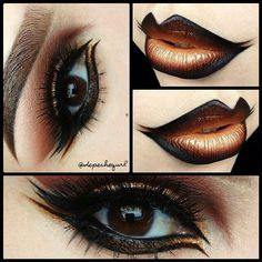 """Lips - """"Lady Like"""" & """"Goldilocks"""" Liquid Lipsticks with Black Gel Liner. Eyes - """"Show Stopper"""" Lashes and spike lashes cut into pieces. """"Comex Gold"""" Metal Eyeshadow and """"Kitten"""" Glitter Liner. NYX Black and Brown Liquid Liners. MAC Eyeshadows in """"S Love Makeup, Makeup Art, Beauty Makeup, Mac Makeup, Skull Makeup, Fairy Makeup, Gorgeous Makeup, Makeup Monolid, Alien Makeup"""