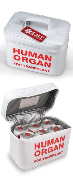 Funny cooler! Nobody will steal your beer or lunch from the fridge again! Haha... Human organ for transplant #product_design