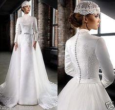 2017 High Neck Muslim Lace Vintage Bride Long Sleeve Wedding Dresses Size  Custom 9824a0372ec6