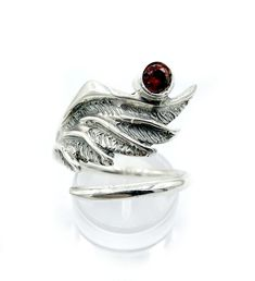 wing ring, silver ring, red garnet ring, silver adjustable ring, archa – Handmade with love from Greece Shop Engagement Rings, Rose Gold Engagement Ring, Diamond Wedding Rings, Vintage Engagement Rings, Angel Wing Ring, Rose Gold Morganite Ring, Handmade Rings, Garnet Rings, Bridal Jewelry Sets