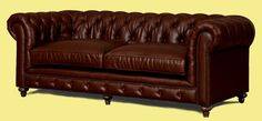 Brown leather chesterfield sofa. This sofa is upholstered in rich brown high quality bonded leather. Features deep button tufting, hardwood frame, nailhead trim. rolled arms, eight-way hand-tied spring suspension, and mix of feather down blend and poly-fiber. The seat cushions are removable. This sofa is perfect in traditional, classic, country or transitional inspired living room design.